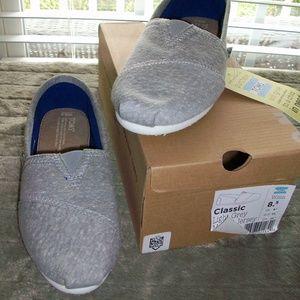 NIB TOMS Classic Marled Gray Jersey Knit Flats